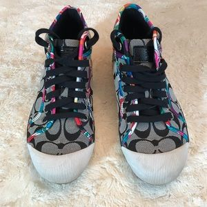 COACH Signature Suede & Metallic Leather Sneakers
